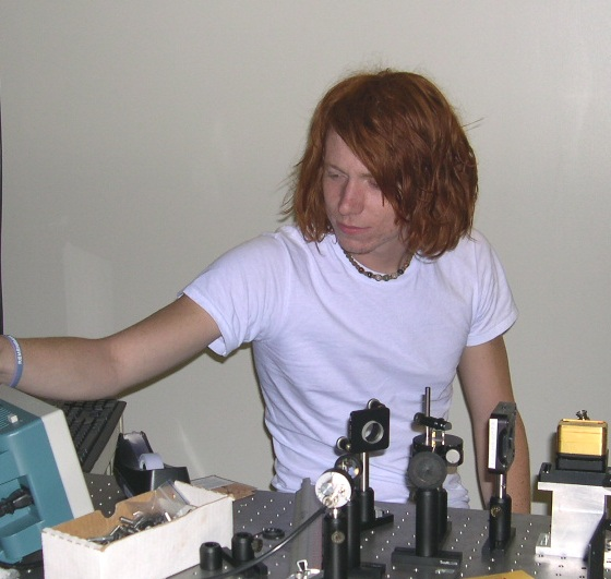 REU student Jeremy Pigeon in the lab