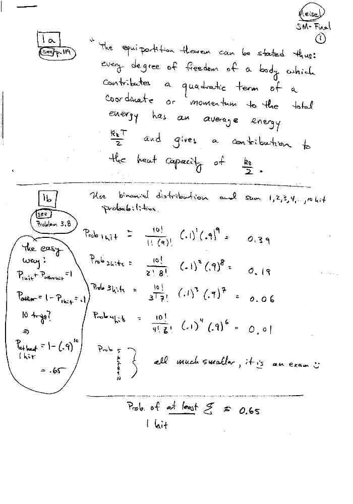Statistical Physics Spring 2002